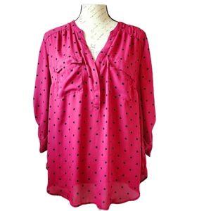Torrid plus sz blouse top polka dot 3/4 sleeve